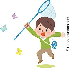 Boy with a butterfly net catching butterflies.