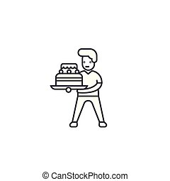 boy with a cake vector line icon, sign, illustration on background, editable strokes