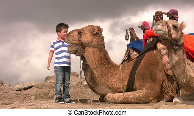Boy with a camel