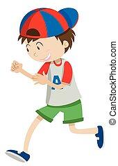 Boy with a cap walking