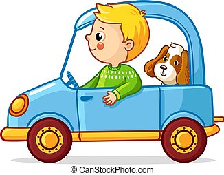 Boy with a dog in blue car. Vector illustration