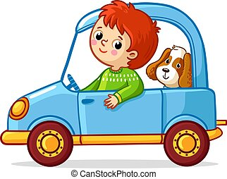 Boy with a dog is riding a blue car.