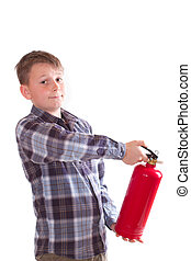 boy with a fire extinguisher on a white background