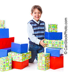 Boy with a gift box