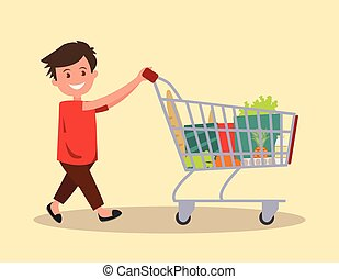 Boy with a grocery cart. Vector illustration.