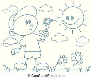Boy with a ladybug