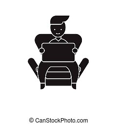 Boy with a laptop at home black vector concept icon. Boy with a laptop at home flat illustration, sign
