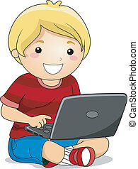 Boy with a Laptop - Illustration of a Boy Sitting on the ...