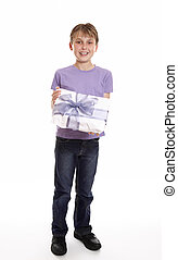 Boy with a mother's day or birthday present