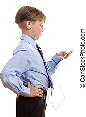 Boy with a music player