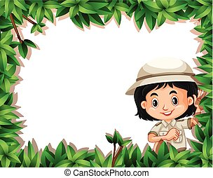 Boy with a nature frame