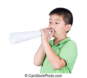 boy with a paper megaphone