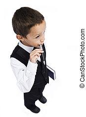 boy with a pen