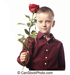 Boy with a red rose