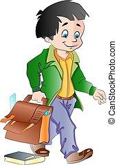 Boy with a School Bag, illustration