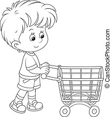 Boy with a shopping trolley - Little buyer going with a...