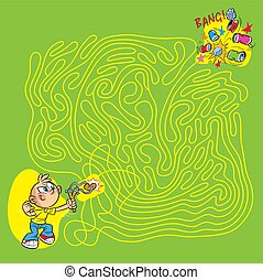 boy with a slingshot in a maze - On vector illustration maze...