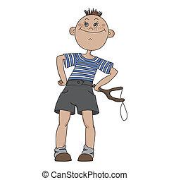 Boy with a slingshot