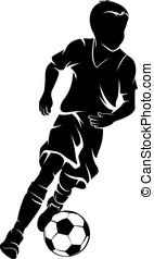 Boy with a Soccer Ball Silhouette