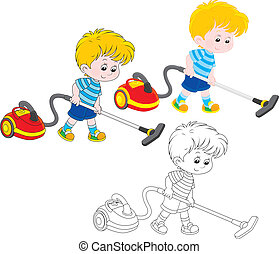 Little boy vacuuming with a red and yellow hoover, three versions of the illustration