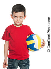 Boy with a volleyball ball