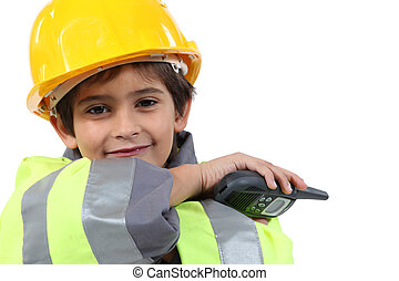 Boy with a walkie talkie