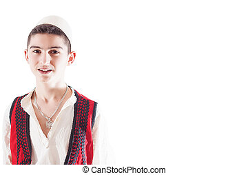 Isolated boy with Albanian traditional costume