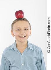 Boy with an apple