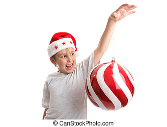Boy with an oversized Chirstmas Bauble