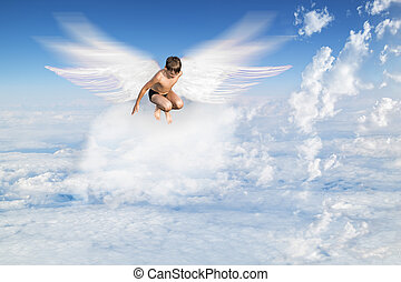 Boy With Angel Wings Flying Around In The Sky