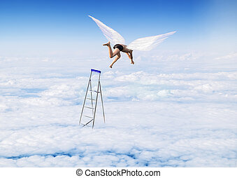 boy with Angel Wings flying, jumping from the stairs in the sky