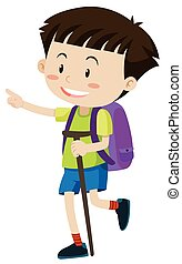 Boy with backpack and walking stick illustration