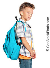 Boy with backpack - Portrait of a schoolboy with backpack, ...