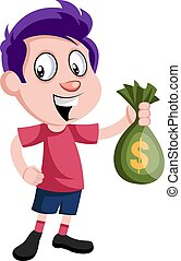 Boy with bag of money, illustration, vector on white background.