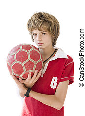 boy with ball a over white background