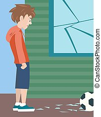 boy with ball and broken glass, vector cartoon of problem child