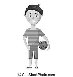 Boy with ball icon, gray monochrome style