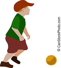 Boy with ball, illustration, vector on white background.