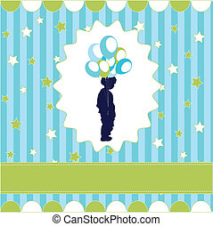 boy with balloon, blue wallpaper