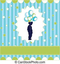 boy with balloon, blue wallpaper