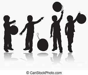 Boy with balloon silhouette