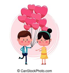 boy with balloons heart shape and girl happy