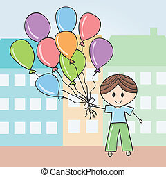 Boy with balloons in city