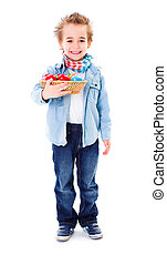 Boy with basket full of Easter eggs