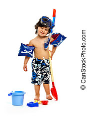 Boy with beach wear isolated on a white background - A Young...