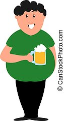 Boy with beer, illustration, vector on white background.