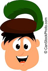 Boy with beret, illustration, vector on white background.
