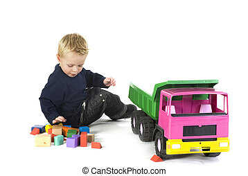 boy with big car