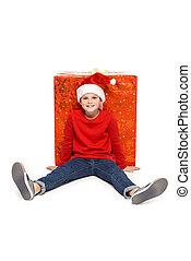 boy with big christmas present