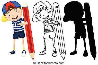 Boy with big pencil in color and outline and silhouette